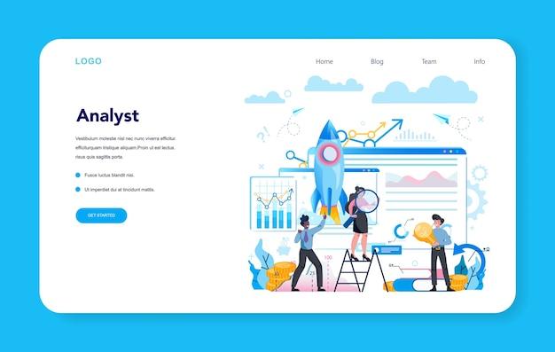 Bannière web ou page de destination d'analyste commercial. stratégie d'entreprise