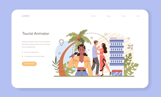 Bannière web ou page de destination de l'animateur touristique. animations de vacances, week-end de loisirs pour touristes. aventures et loisirs à l'étranger. idée de tourisme à travers le monde. illustration vectorielle plane