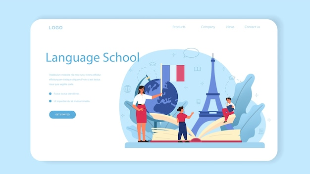 Bannière web ou page de destination d'apprentissage du français.