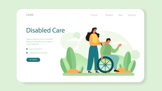 Bannière web ou page de destination des bénévoles sociaux. soutenir la communauté caritative et prendre soin des personnes dans le besoin. idée de soin et d'humanité. accompagnement des personnes handicapées et seniors. illustration vectorielle isolé