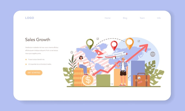 Bannière web ou page de destination de la campagne marketing de l'agence de voyages