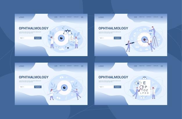 Bannière web ou page de destination de la clinique d'ophtalmologie et. idée de soins oculaires et visuels. set de traitement oculiste. examen et correction de la vue.