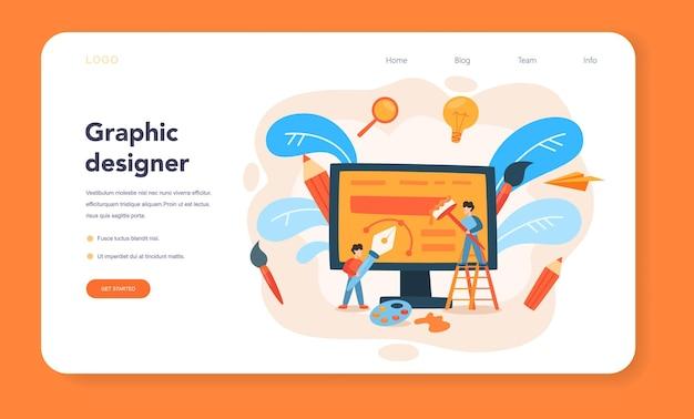Bannière web ou page de destination de concepteur d'annonces ou d'illustrateurs