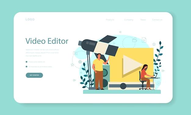 Bannière web ou page de destination de concepteur de mouvement ou de vidéo. l'artiste crée une animation informatique pour un projet multimédia. éditeur d'animation, production de dessins animés.