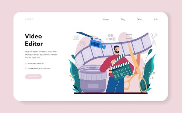 Bannière web ou page de destination de concepteur de mouvement ou de vidéo. l'artiste crée une animation informatique pour un projet multimédia. monteur d'animation, production de dessins animés. illustration vectorielle