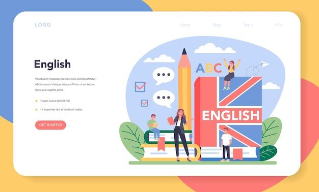 Bannière web ou page de destination de cours d'anglais. étudiez les langues étrangères à l'école.