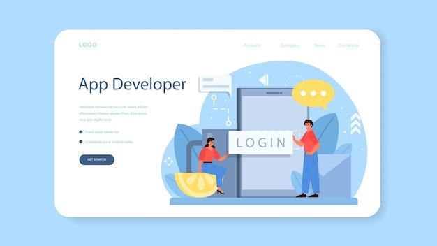 Bannière web ou page de destination de développement d'applications mobiles