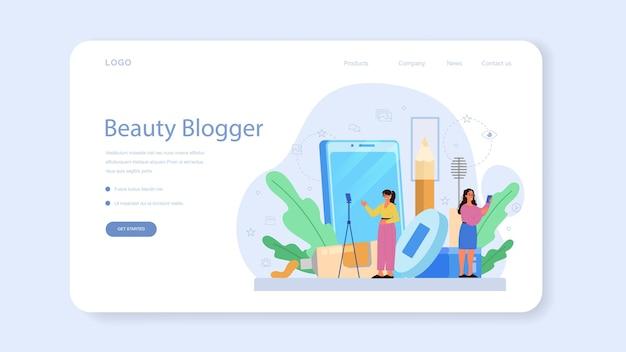 Bannière web ou page de destination du blogueur vidéo beauté