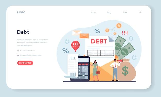 Bannière web ou page de destination du collecteur de créances