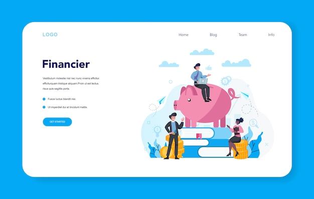 Bannière web ou page de destination du conseiller financier ou financier