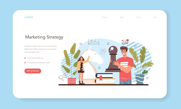 Bannière web ou page de destination du cours d'école d'éducation au marketing