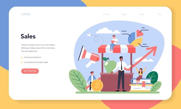 Bannière web ou page de destination du cours d'éducation marketing