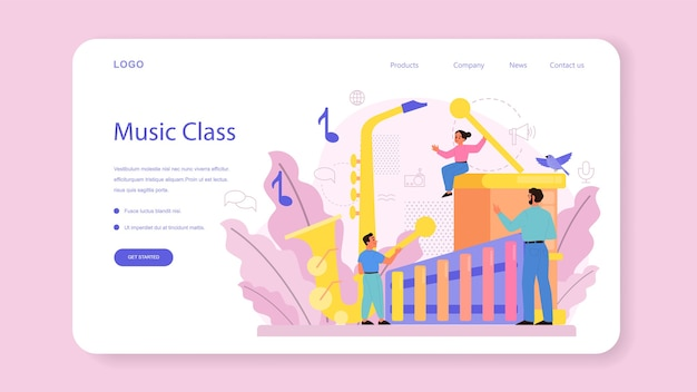 Bannière web ou page de destination du cours de musique et de musicien