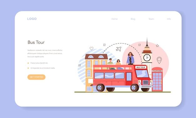 Bannière web ou page de destination du guide touristique. visite en bus, touristes à l'écoute