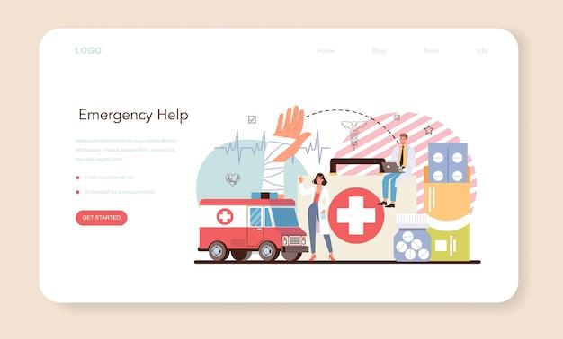 Bannière web ou page de destination du sauveteur d'urgence. sauveteur ambulancier
