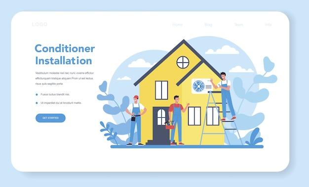 Bannière web ou page de destination du service de réparation et d'installation de la climatisation. réparateur installant, examinant et réparant le conditionneur avec des outils et des équipements spéciaux.