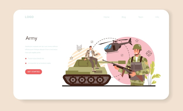 Bannière web ou page de destination du soldat. employé des forces militaires en tenue de camouflage
