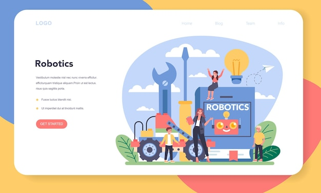 Bannière web ou page de destination de l'école de robotique