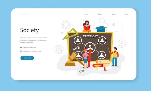 Bannière web ou page de destination de l'école de sociologie. étudiants étudiant la société, le modèle de relation sociale, l'interaction sociale et la culture. illustration vectorielle plane