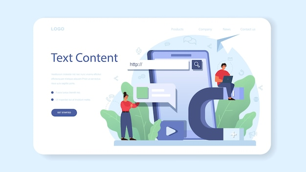 Bannière web ou page de destination de gestion de contenu