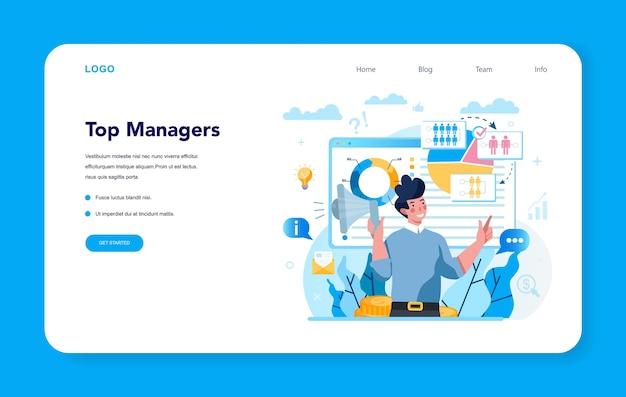 Bannière web ou page de destination de la gestion supérieure de l'entreprise
