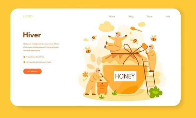 Bannière web ou page de destination d'hiver ou d'apiculteur