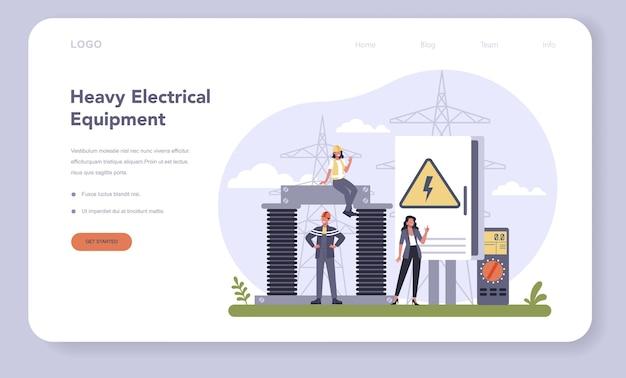 Bannière web ou page de destination de l'industrie des composants et équipements électriques