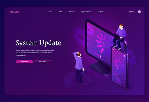 Bannière web de page de destination isométrique de mise à jour du système