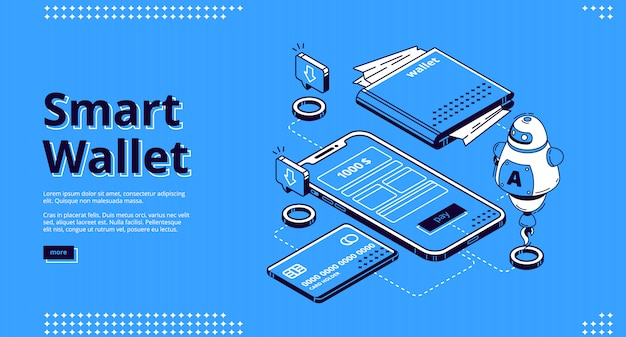 Bannière web de page de destination isométrique de portefeuille intelligent
