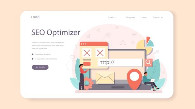 Bannière web ou page de destination de l'optimiseur de référencement