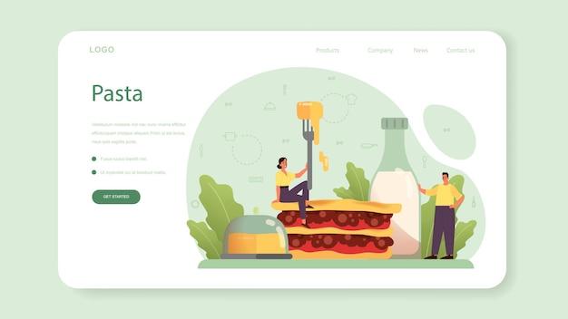 Bannière web ou page de destination de savoureuses lasagnes