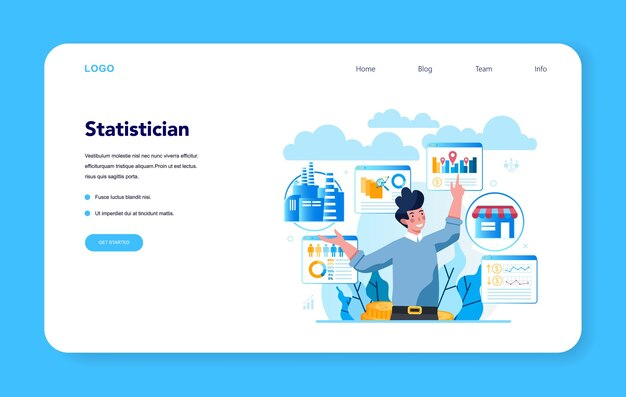 Bannière web ou page de destination de statisticien et statistique. spécialiste