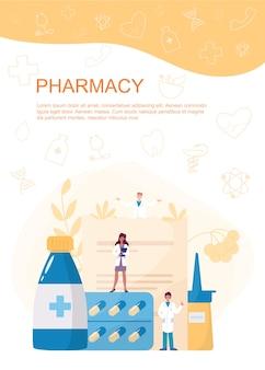 Bannière web de pharmacie ou brochure publicitaire. pilule médicamenteuse pour le traitement de la maladie et formulaire de prescription. médecine et soins de santé. livret ou dépliant de pharmacie.