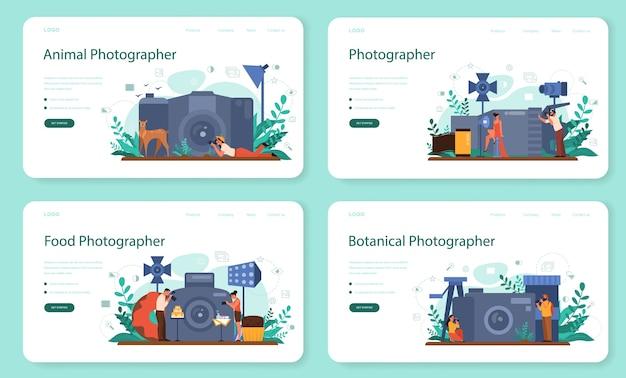 Bannière web de photographe ou ensemble de pages de destination. photographe professionnel avec appareil photo prenant des photos de personne, animal, nourriture. cours d'occupation artistique et de photographie.