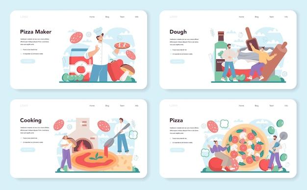 Bannière web de pizzeria ou ensemble de pages de destination
