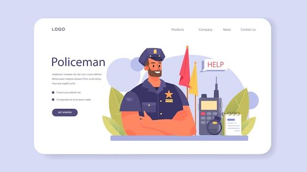 Bannière web de policier ou détective de la page de destination effectuant un interrogatoire