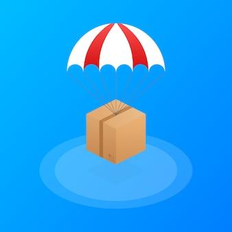 Bannière web pour les services de livraison et le commerce électronique. les colis volent sur des parachutes.