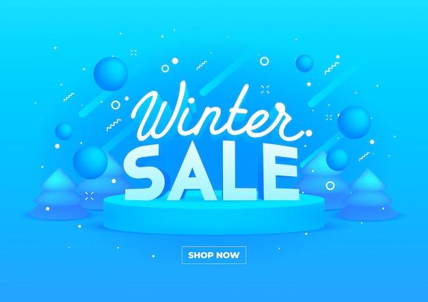 Bannière web pour les soldes d'hiver sur bleu