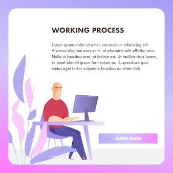 Bannière web sur le processus de travail d'un personnage d'affaires