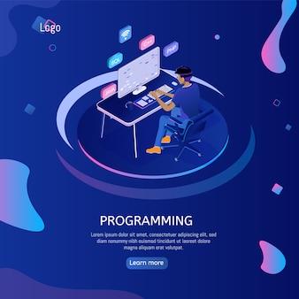 Bannière web de programmation avec ingénieur au travail.