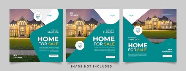 Bannière web de publication de médias sociaux instagram immobilier