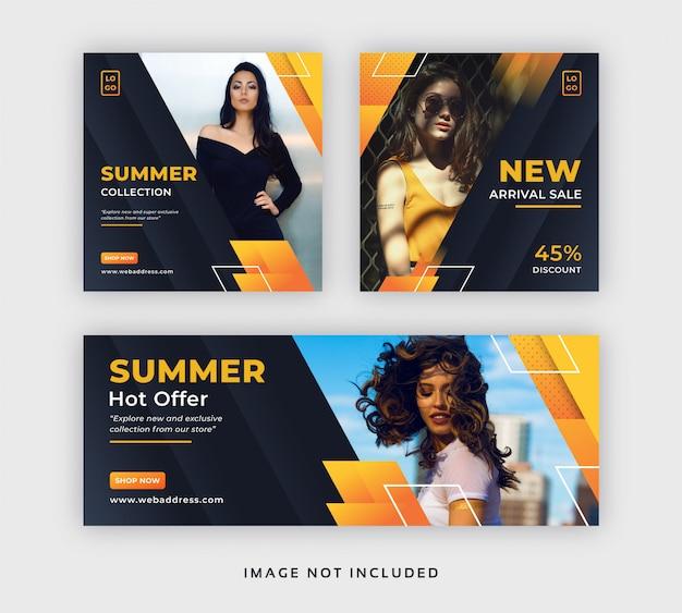 Bannière web de publication de médias sociaux de mode d'été avec couverture facebook