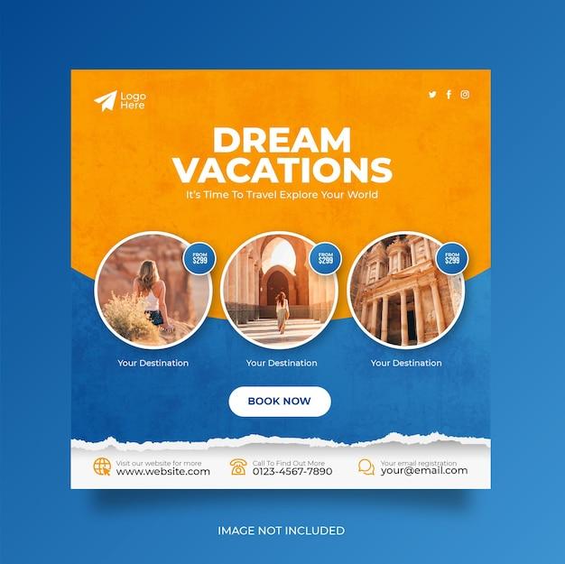Bannière web de publication de médias sociaux de vacances de vacances de voyage