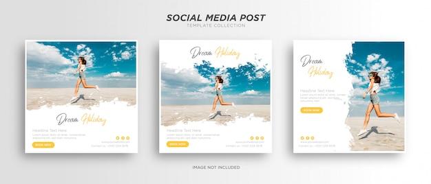 Bannière web de publication de médias sociaux de vacances de vacances