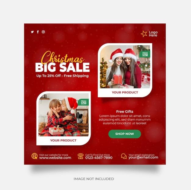 Bannière web de publication de médias sociaux de vente de noël