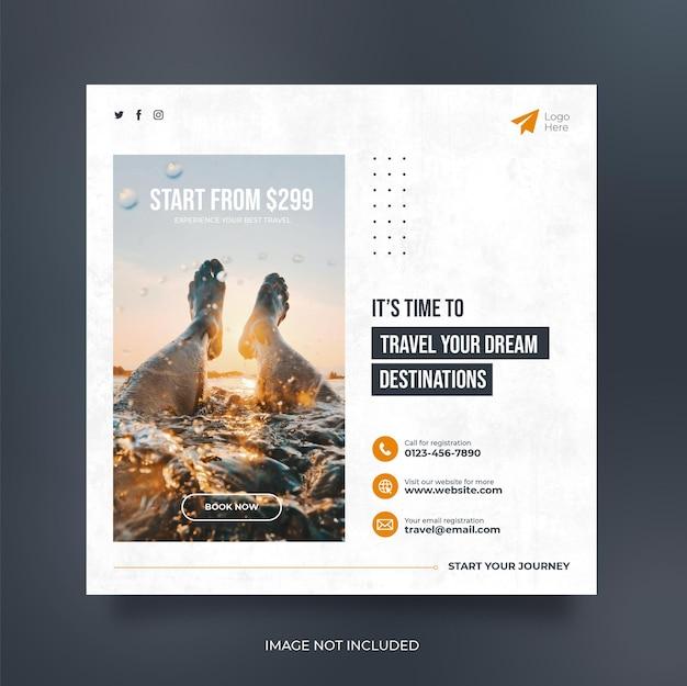 Bannière web de publication de médias sociaux de voyage