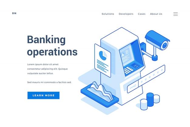 Bannière web publicitaire des opérations bancaires électroniques sécurisées