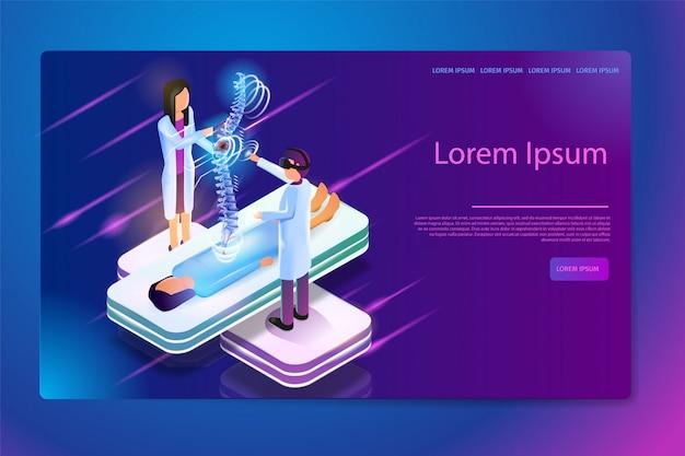 Bannière web sur la réalité virtuelle en médecine vecteur
