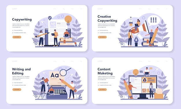 Bannière web de rédacteur ou ensemble de pages de destination. idée d'écriture de textes, créativité et promotion. créer du contenu précieux et travailler en tant que pigiste.