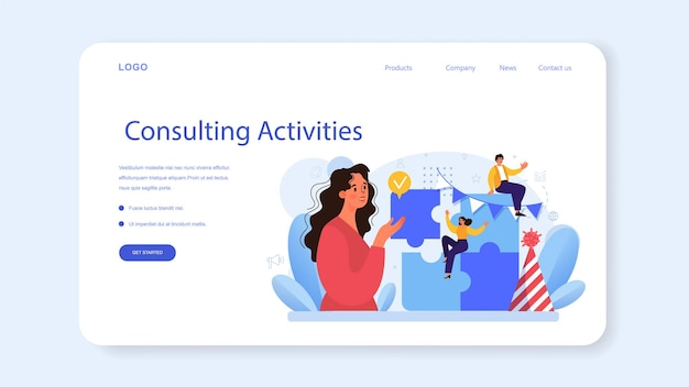 Bannière web de relations d'entreprise ou éthique des affaires de la page de destination